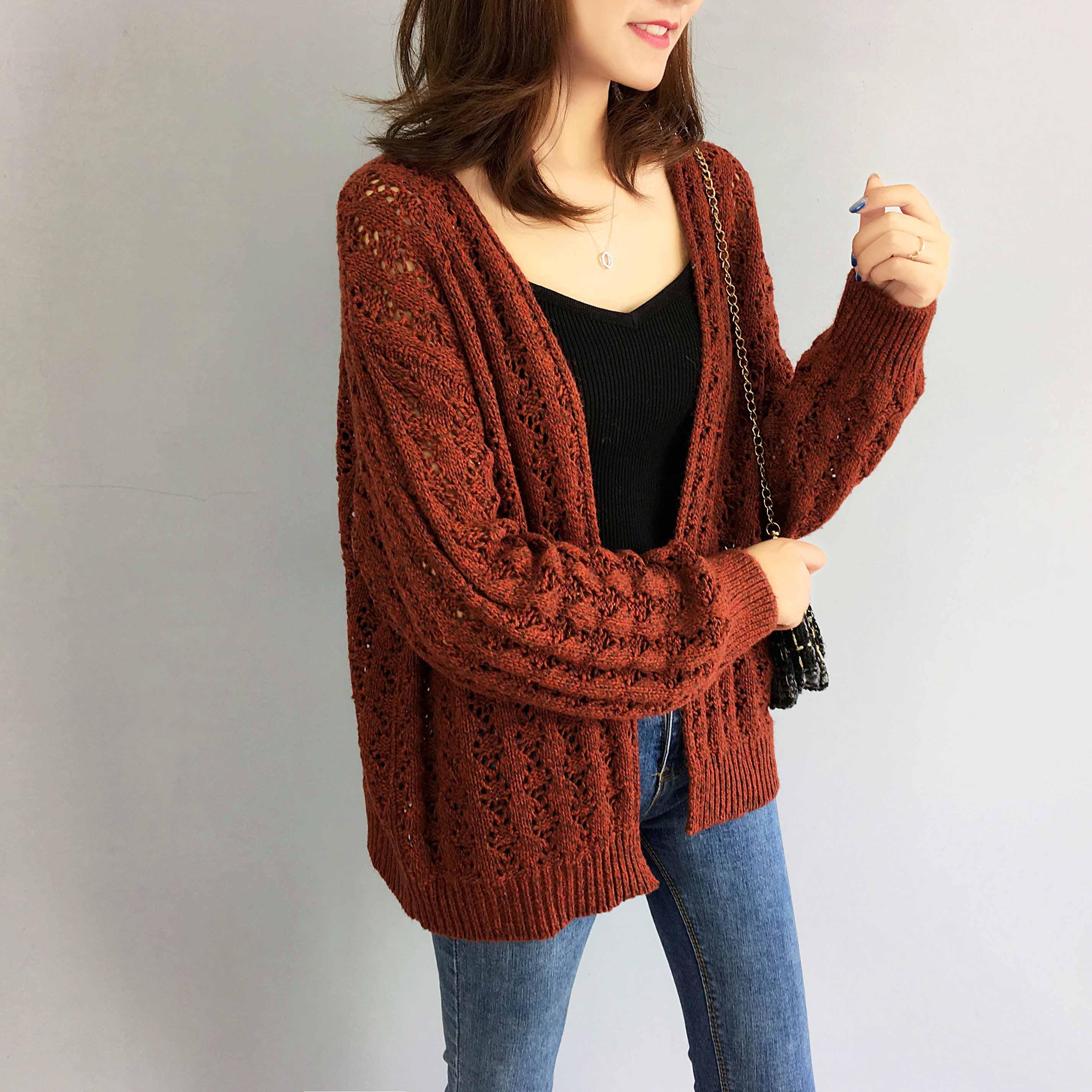 秋季针织衫开衫女薄款镂空外搭2018春秋新款宽松休闲线衣毛衣外套
