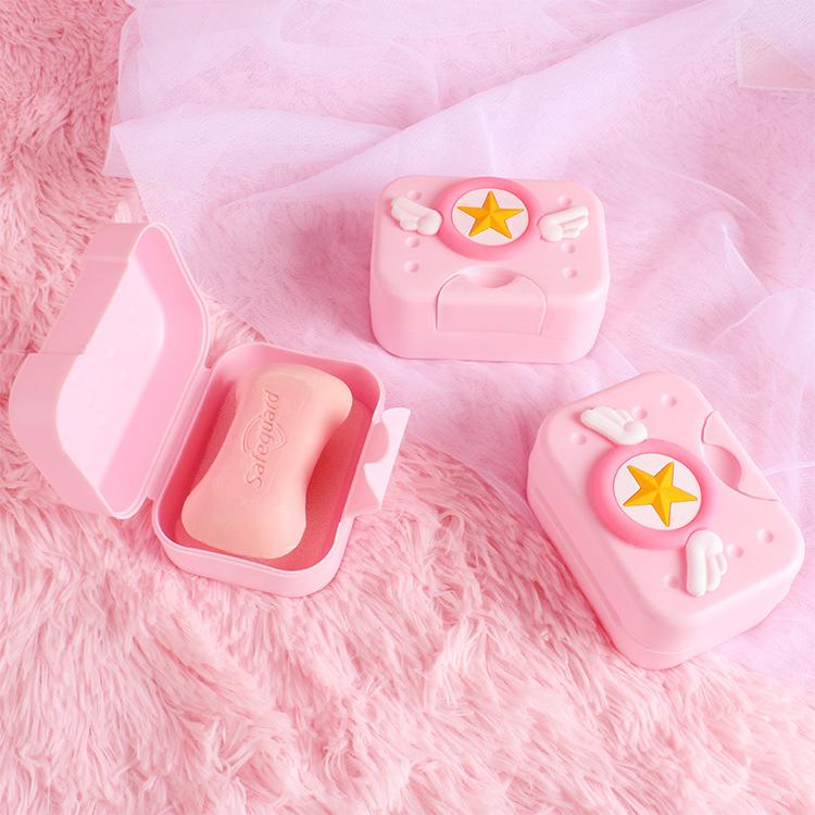 日系可爱少女心肥皂盒带盖塑料香皂盒创意学生宿舍卫生间浴室皂盒