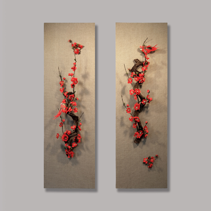 立体家居装饰品禅意墙饰植物玄关挂件客厅挂饰家居新中式挂件壁饰