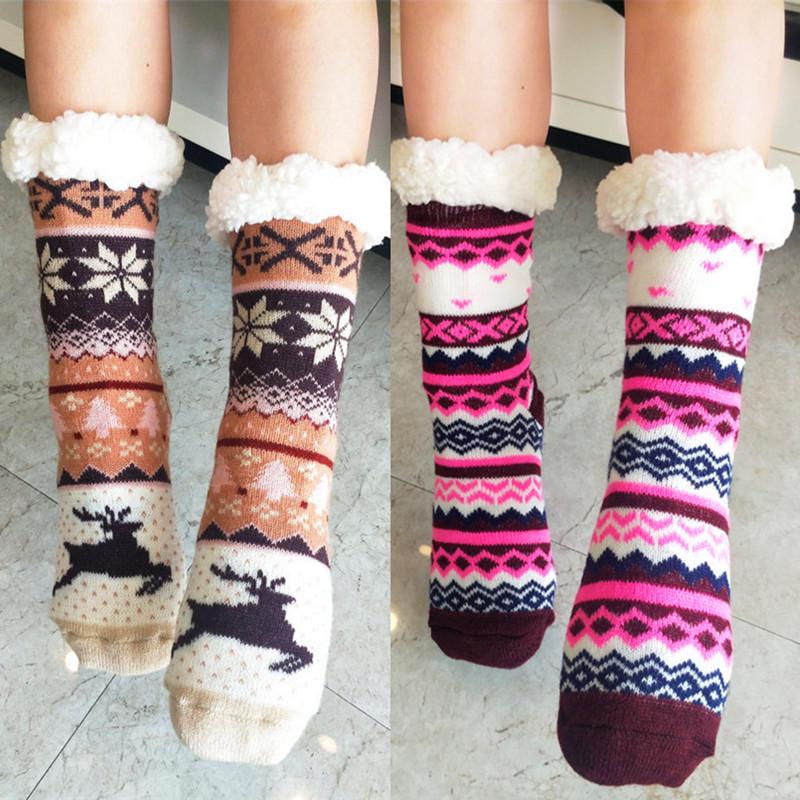 2双特厚成人地板袜超厚居家中筒睡眠袜子加绒产后月子袜抗寒防冻