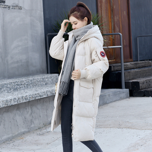 Over the knee in the long down jacket women winter new fashion trend women thick warm long cotton jacket