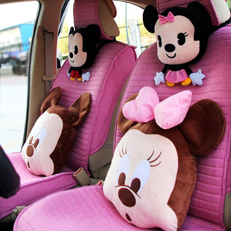 汽车头枕护颈枕一对卡通可爱车载靠枕车用护腰靠垫车枕头腰靠套装