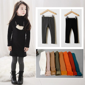 M spring and autumn single girls solid color non-down pile thick leggings children baby warm pants boots pants pants feet