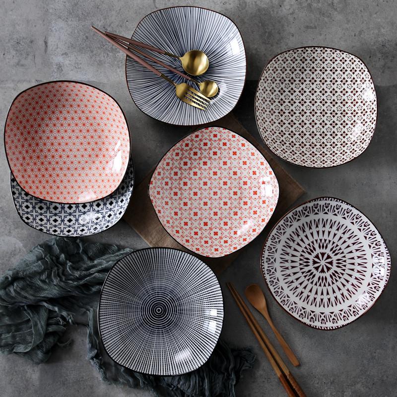 正方陶瓷深盘子菜盘家用创意日式和风餐盘 酒店商用摆台餐具