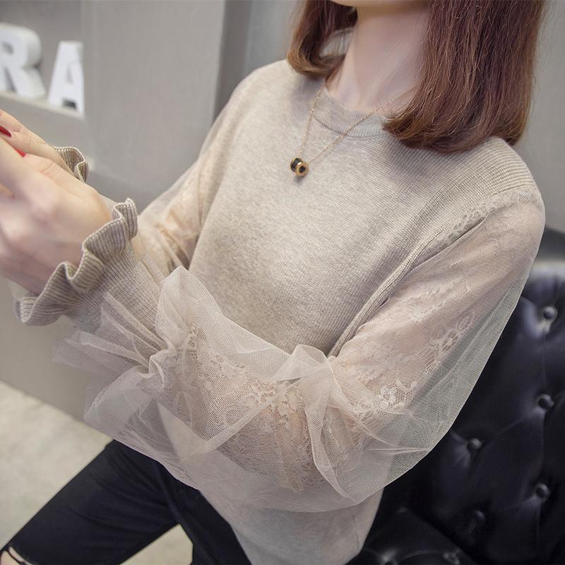 毛衣女韩版2019秋冬新款圆领长袖打底衫蕾丝拼接网纱很仙的针织衫