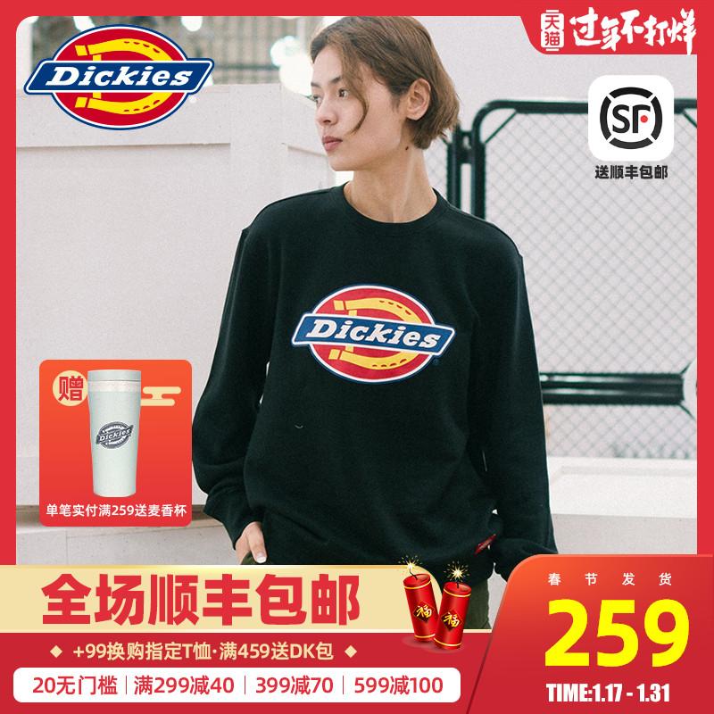 Dickies圆领套头卫衣经典logo印花情侣装男女春季新款宽松长袖T恤