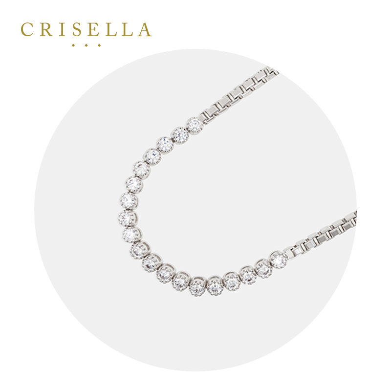 Crisella卡斯丽新款欧美水晶镶嵌纯银首饰 滑扣式链扣 女手链