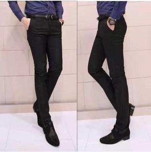 黑色时尚韩版休闲裤男士黑色搭配皮鞋衬衣的裤子青少年大码长裤子
