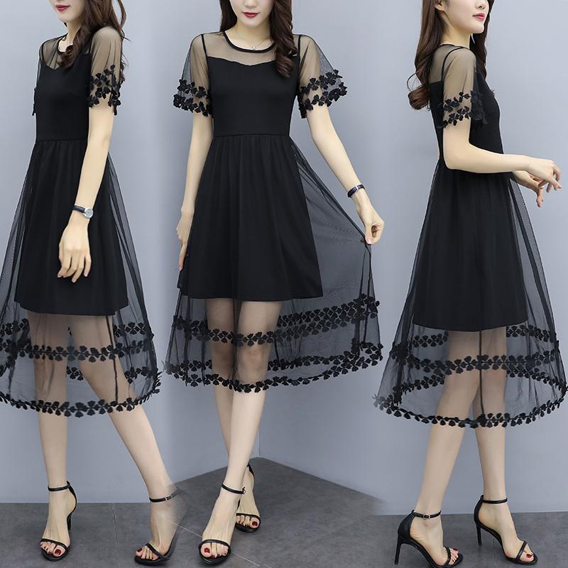 胖女人遮肚显瘦连衣裙网纱洋气新款很仙大码减龄夏超仙女长裙仙甜