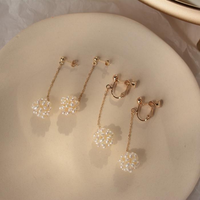 手工款 超仙天然珍珠花球耳吊14k包金耳饰气质百搭耳环女耳夹