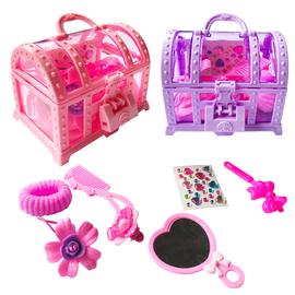 儿童发饰 百宝箱玩具女孩首饰盒带锁 发夹头饰发圈宝石公主发卡