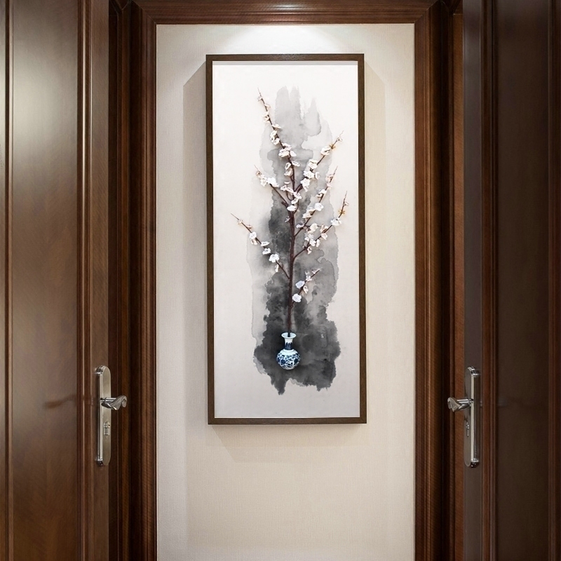新中式玄关装饰画青花瓷瓶梅花立体实物画餐厅书房茶室客厅挂画