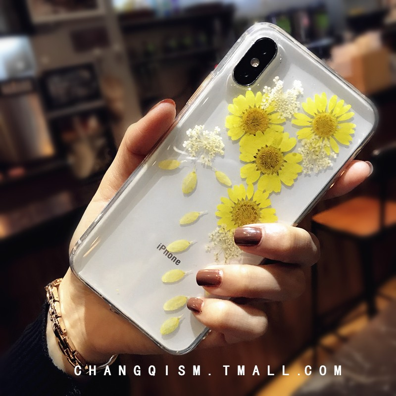 韩风向日葵鲜花苹果x手机壳iphone8x保护软套7plus女款真花6s防摔