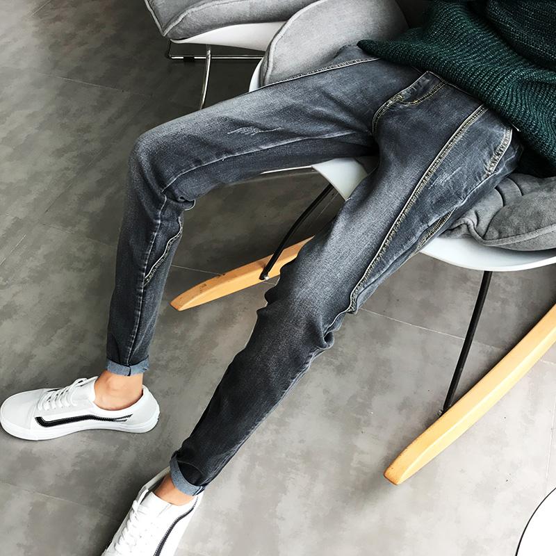 秋鼕季新款褲子男韓版潮流修身牛仔長褲青少年男士黑色加絨小腳褲