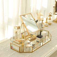 居曼希欧式台式桌面化妆镜梳妆结婚公主复古随身便携美容单面大镜