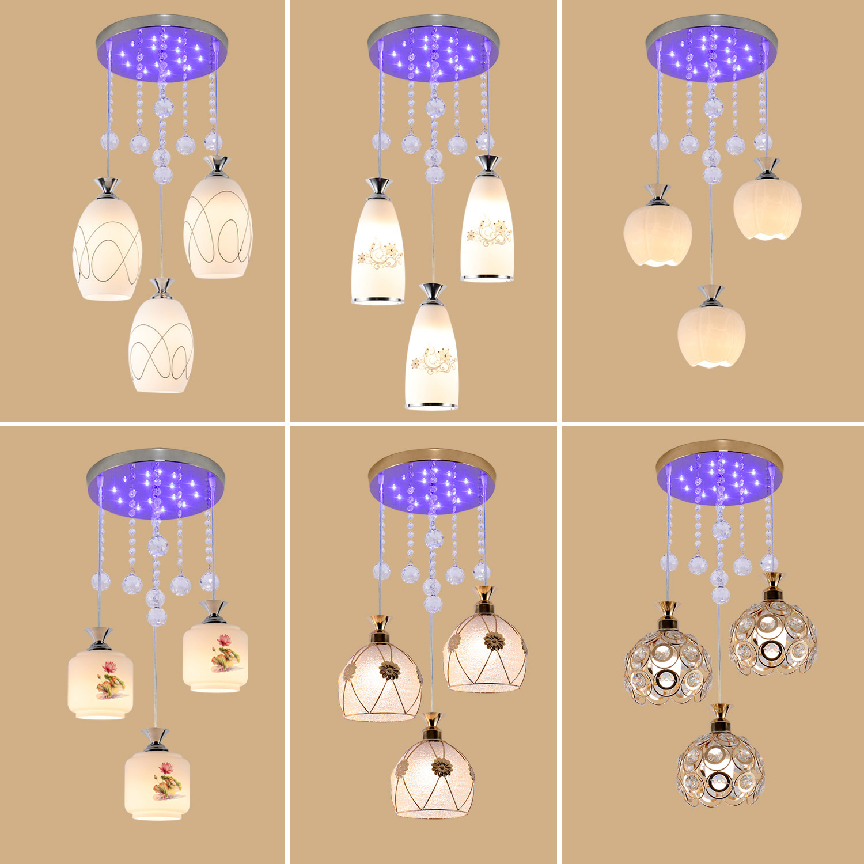 餐厅吊灯现代简约三头创意个性田园水晶餐桌灯卧室灯饭厅餐吊灯饰-锦虹灯饰