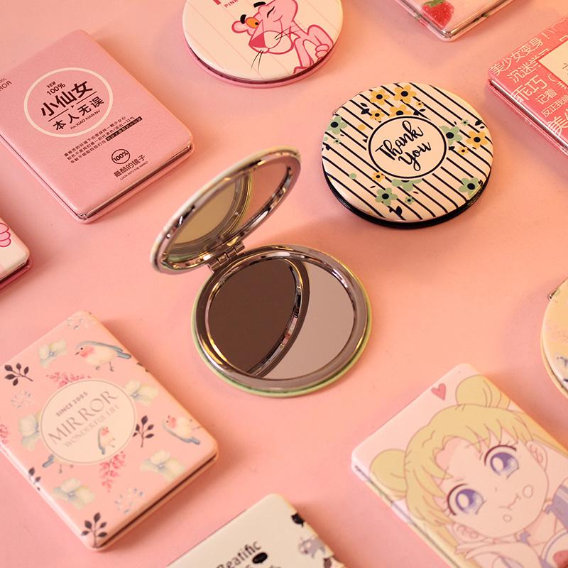 小镜子韩国可爱便携皮质化妆镜迷你折叠随身镜美容镜圆形卡通双面