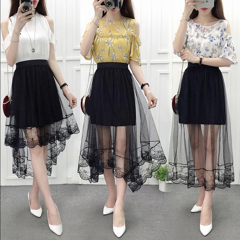 裙子春季2020新款女韩版不规则网纱半身裙夏中长款燕尾网纱裙黑色
