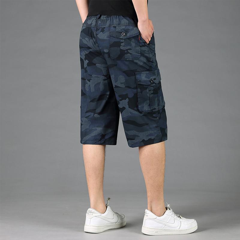 2018新款宽松迷彩短裤男夏七分裤青年沙滩裤薄中裤7分裤休闲马裤