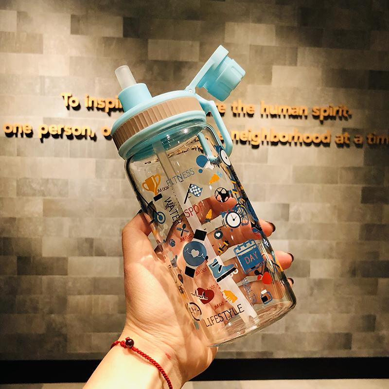 韩国吸管杯大人网红杯子创意少女可爱ins玻璃杯女便携好看的水杯