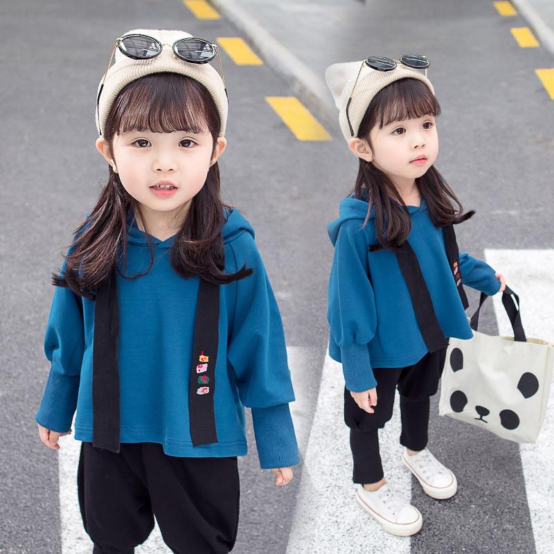 2018新款韩版1女童长袖秋装2宝宝洋气3-4岁婴儿童纯色套装潮童装5