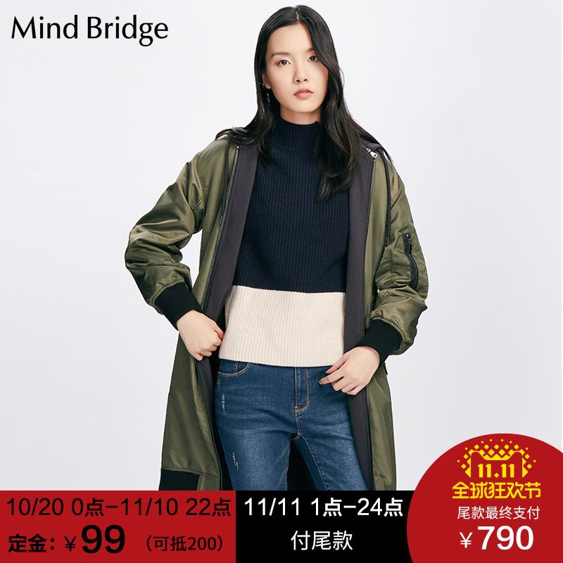 【预售】Mind Bridge百家好2017冬季新款保暖中长款棉衣