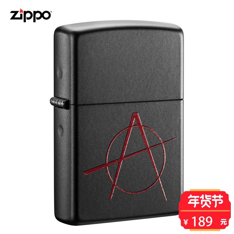 zippo火机防风煤油机黑色哑漆彩印 红黑大战个性礼品 20842