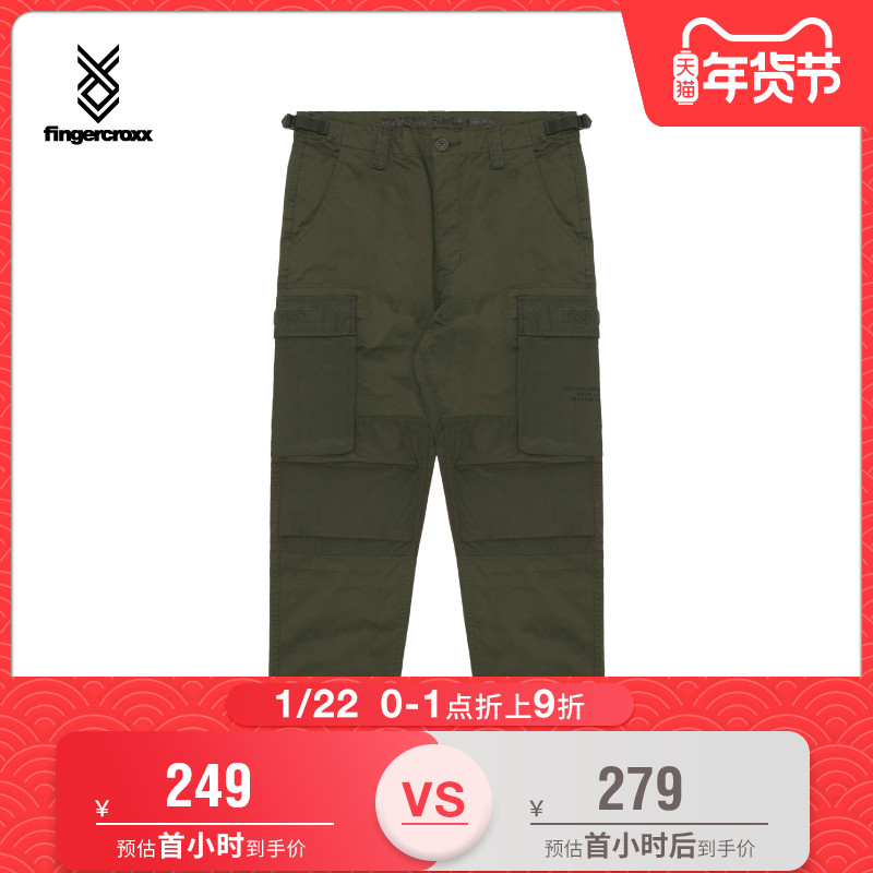 fingercroxx男装秋冬字母印花口袋织带装饰休闲工装裤长裤60476XD