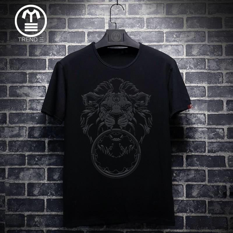 欧洲站夏季新款短袖t恤男潮流狮子头印花青年薄款丝光棉半袖大码