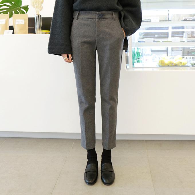 冬新韩版加绒加厚毛呢九分直筒裤女高腰灰色烟管裤休闲长裤西装裤