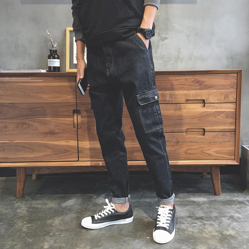 香港IT代购宽松牛仔裤男直筒休闲哈伦黑色潮牌裤子秋冬款工装长裤