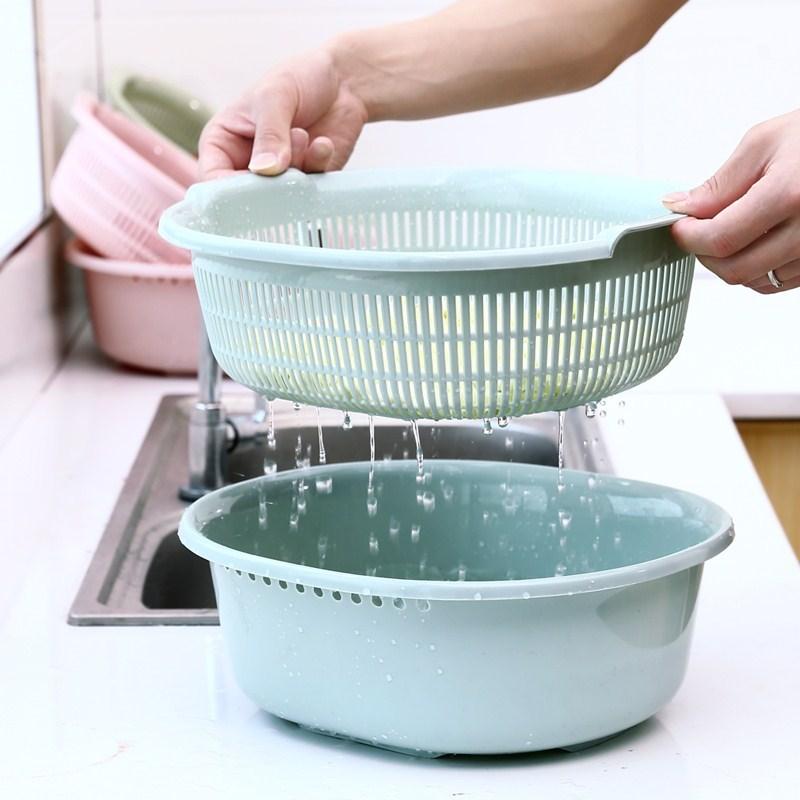 漏水篮 沥水篮塑料洗菜蓝子水果篮个性洗菜盆桌面双层加厚蔬菜家