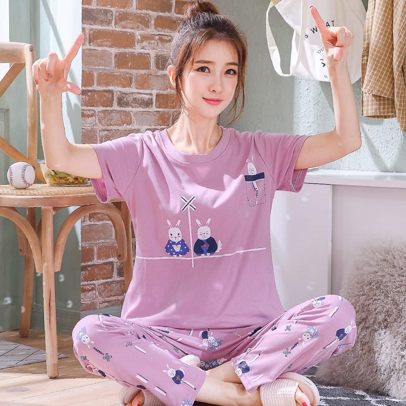 睡衣女夏季纯棉短袖长裤韩版春款可爱卡通可外穿全棉家居服两件套