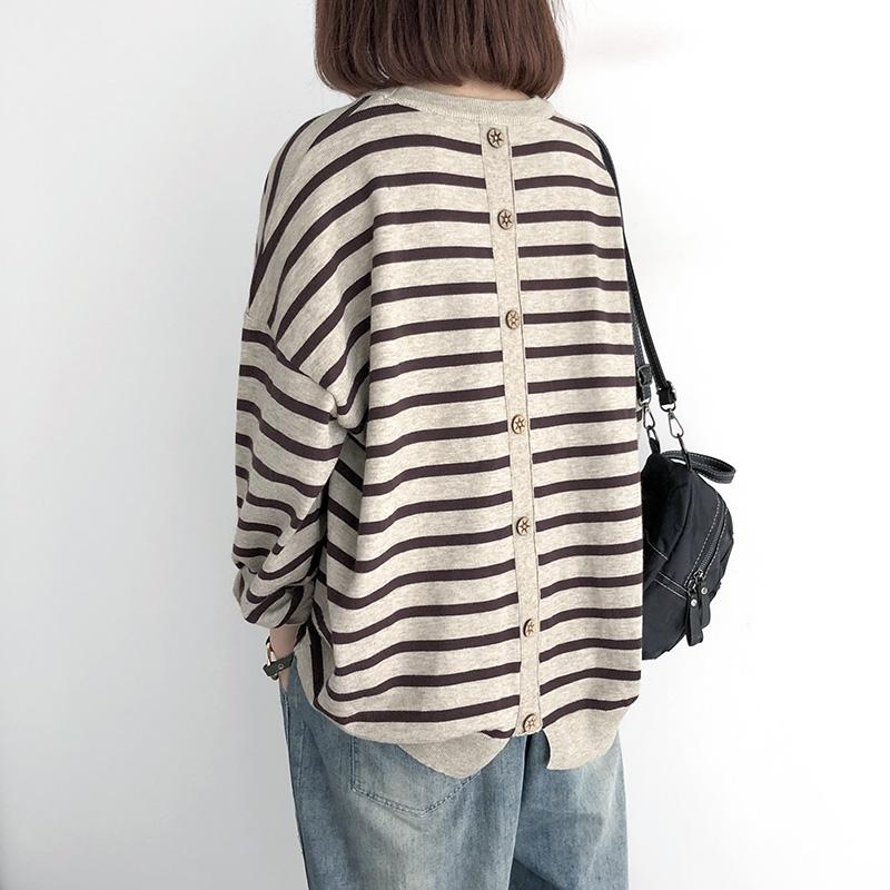 初秋新款套头针织衫女宽松大码条纹长袖上衣韩版薄款外穿打底毛衣