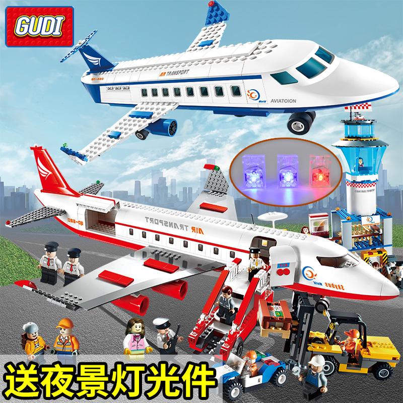 儿童积木兼容legao城市飞机系列客机模型国际机场男孩子拼装玩具