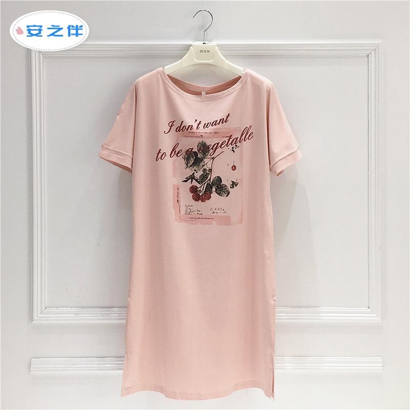 安之伴睡裙女夏季纯棉甜美可爱短袖薄款夏天连体睡衣短裙家居服女