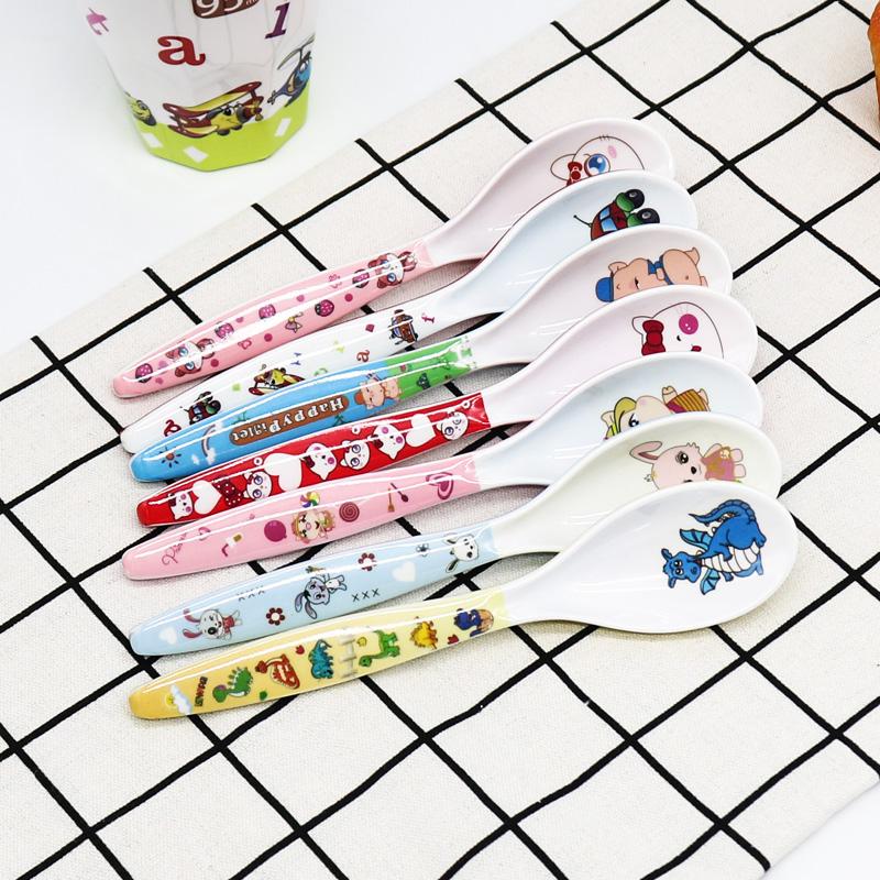 韩式卡通可爱长柄小勺儿童家用汤勺密胺创意仿陶瓷学生勺子餐具