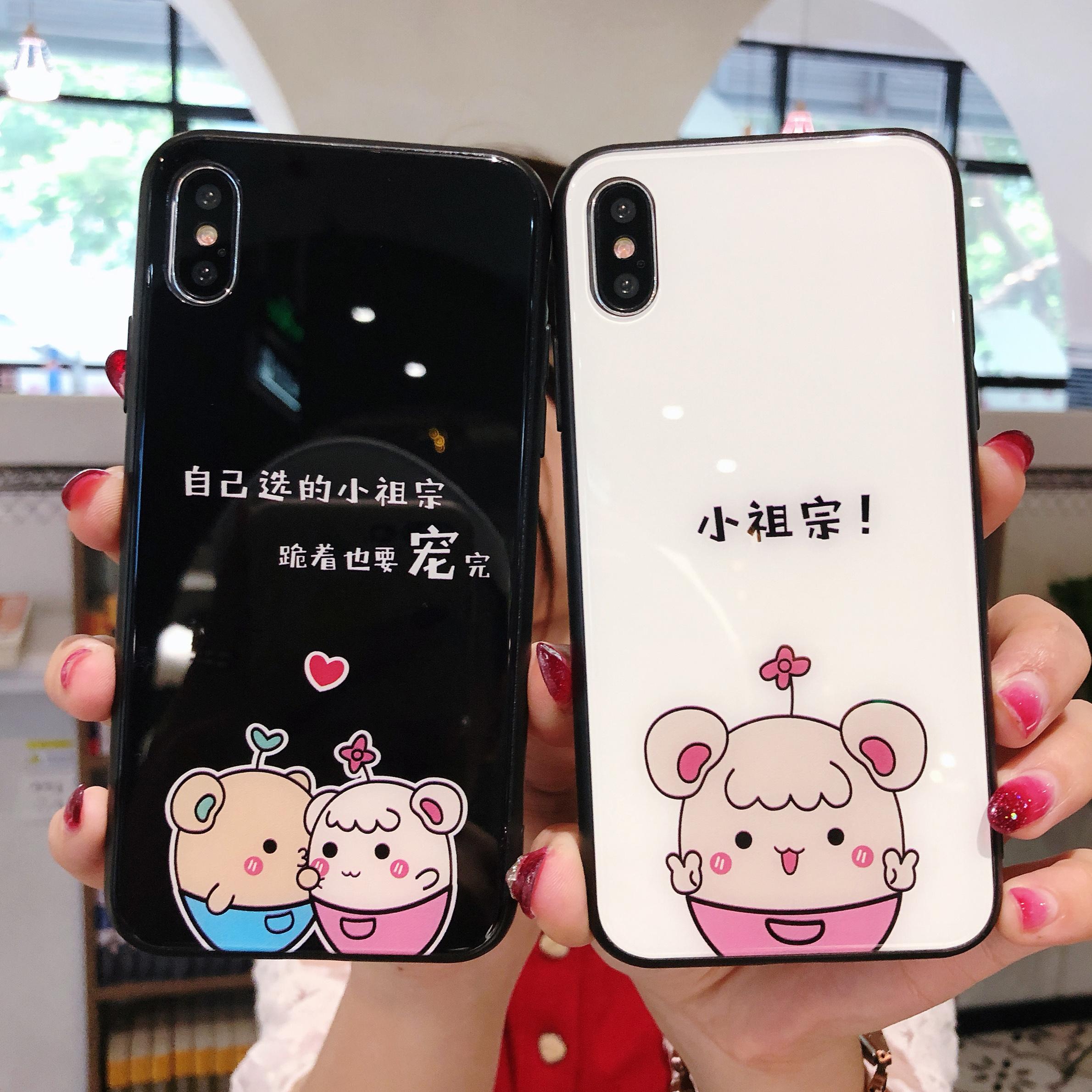 小祖宗个性卡通女r11s手机壳oppor9钢化玻璃壳r15情侣搞怪萌宠