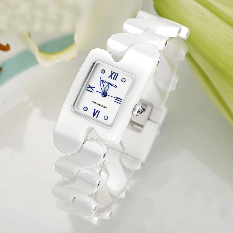 陶瓷手表女白色女表防水石英表时尚潮流防水方形女士手表手链表