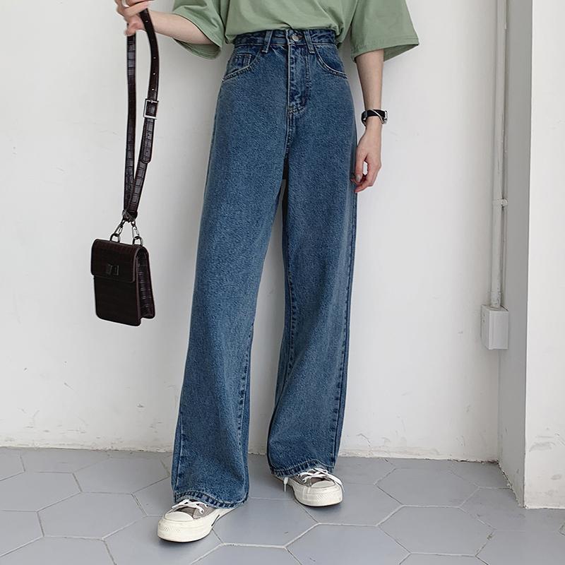 泫雅同款牛仔裤女高腰直筒显瘦阔腿宽松垂感网红韩版老爹cec裤子