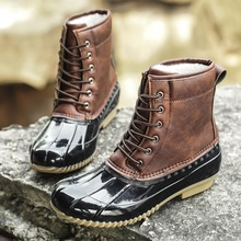 冬季36 37 38(小)码ww9帮大棉靴ou滑雪地靴户外皮面防水猎鸭鞋