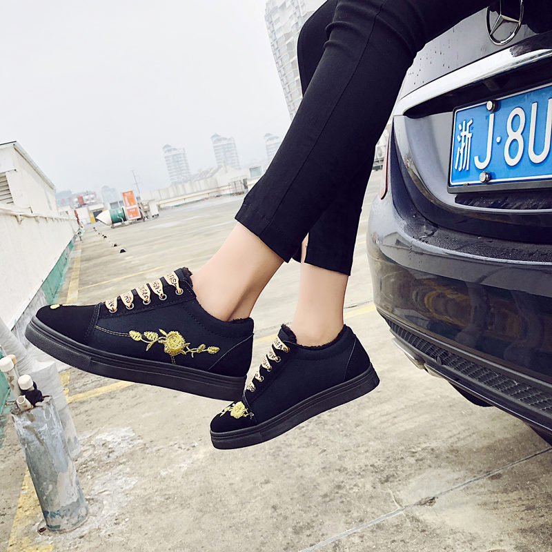 黑色加绒帆布鞋2017秋冬新款街拍平底板鞋韩版百搭系带学生鞋女鞋
