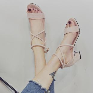 一字带晚晚凉鞋女仙女风2019夏季新款百搭中跟粗跟网红少女高跟鞋