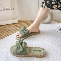 沙滩花朵凉拖鞋女外出夏天外穿时尚蝴蝶结ins潮2021新款夏季凉鞋