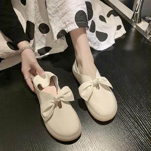 平底单鞋女2020春夏新款韩版豆豆鞋百搭仙女网红款森女配裙护士鞋