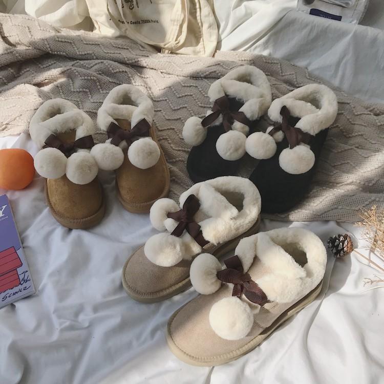 雪地靴女套筒短靴蝴蝶结毛毛鞋2018韩版面包鞋加绒棉鞋秋冬季女鞋