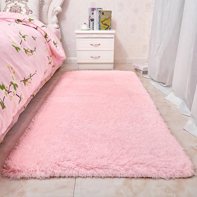 粉色少女心长毛绒地毯卧室床边毯小房间满铺地毯可爱公主长方形