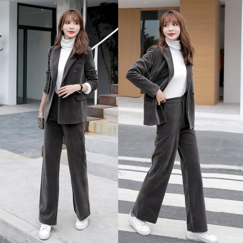 2020秋冬实拍新款加厚毛绒金丝绒西装外套+阔腿裤 两件套 套装-正青春-