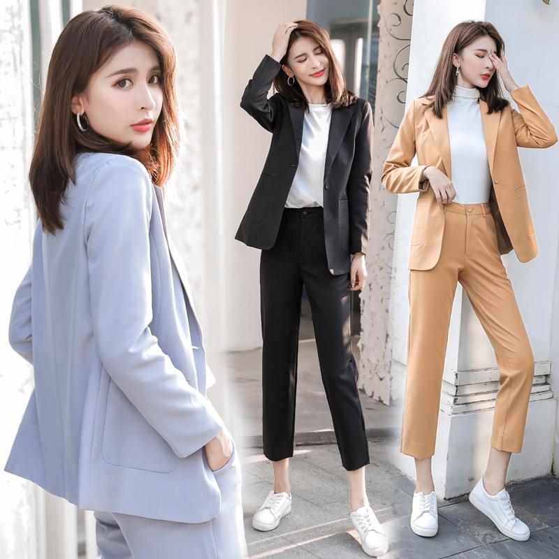 2020秋季实拍新款韩版面试西服外套九分裤小西装套装女休闲 -