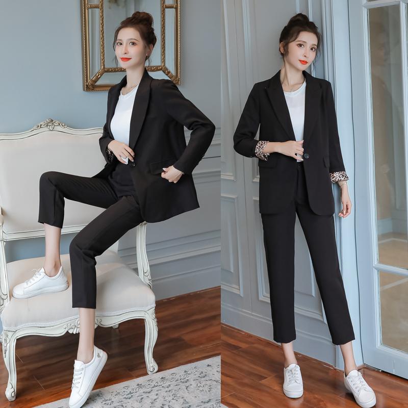 2020秋季实拍新款豹纹里布黑色西服西装+九分裤 面试西服 套装 女 -